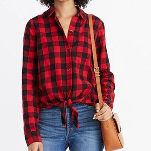 Madewell Red Flannel Popover Shirt